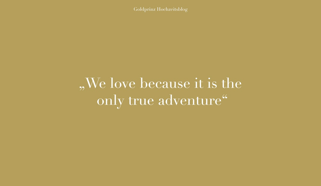 We love because it is the only true adventure