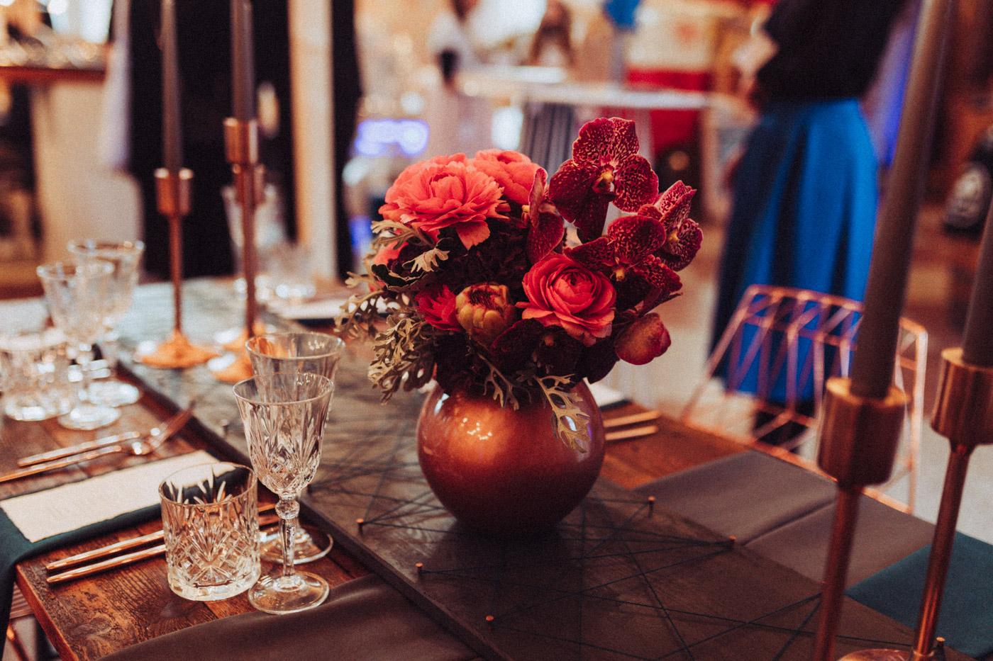 Tischdekoration Hochzeit in rot